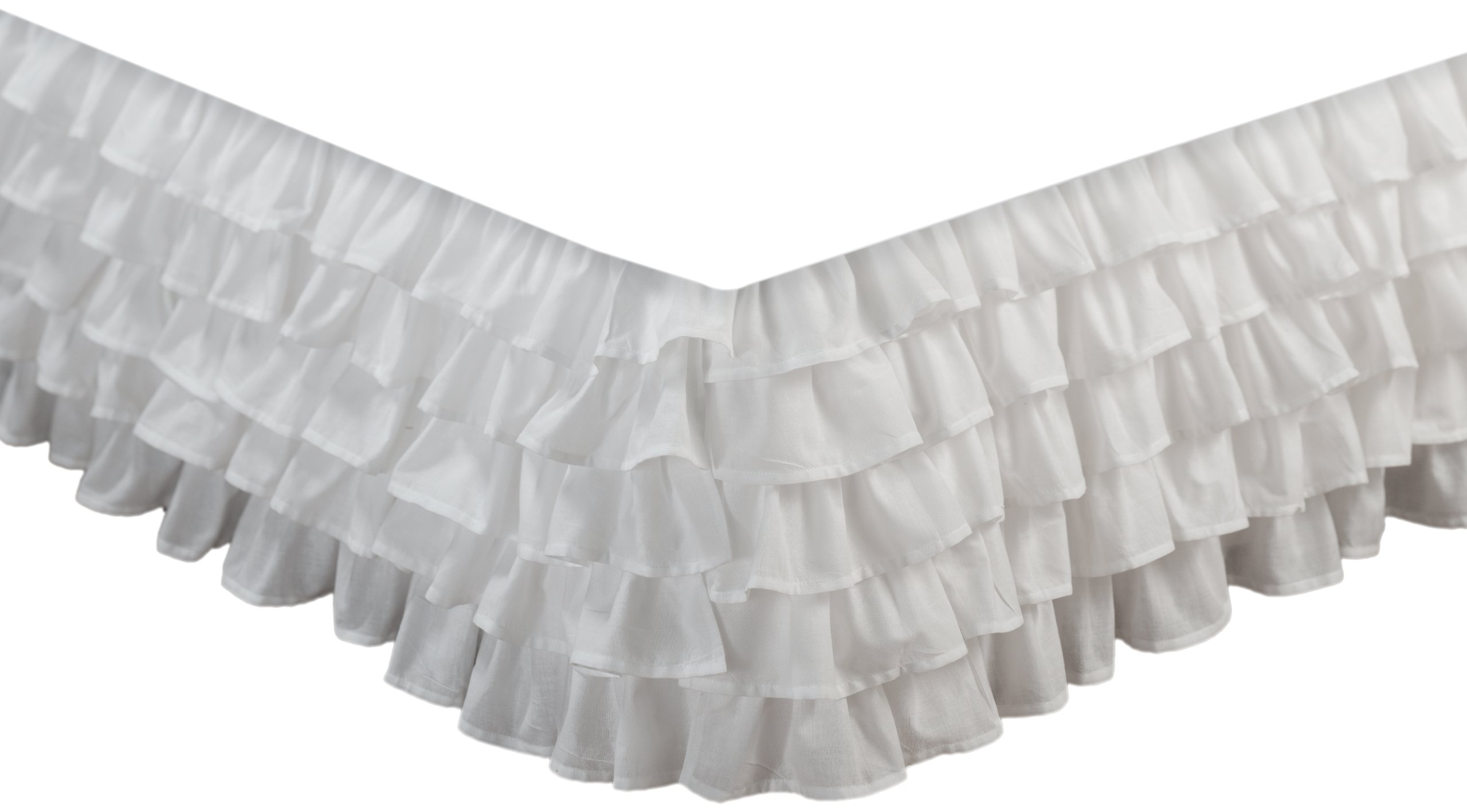 greenland home fashions multi ruffle bed skirt white queen ebay. Black Bedroom Furniture Sets. Home Design Ideas