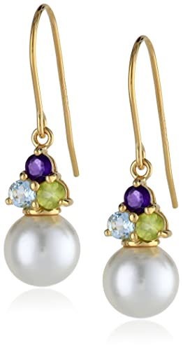 18k-Gold-Plated-Sterling-Silver-Genuine-White-Shell-Pearl-Blue-Topaz-Peridot-and-Amethyst-Drop-Earrings