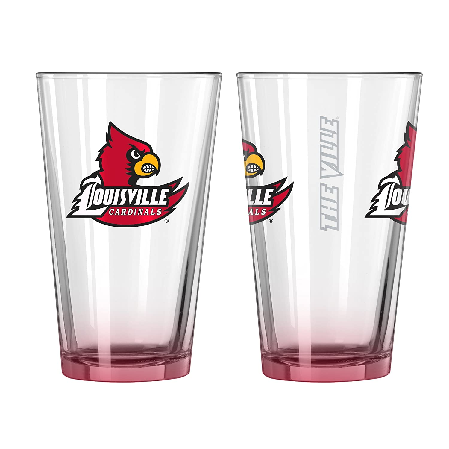 NCAA Louisville Cardinals Elite Pint Glass Set (Pack of 2), 16-Ounce 1600mw diy laser engraving machine 1 6w diy marking machine diy laser engrave machine advanced toys
