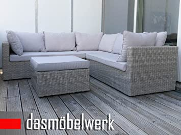 dasmöbelwerk Polyrattan Sitzgarnitur Gartenmöbel Sitzgruppe Lounge Ecklounge PARMA Silbergrau