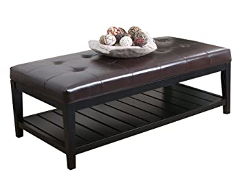 Abbyson Living Laurel Dark Brown Bicast Tufted Leather Coffee Table Ottoman