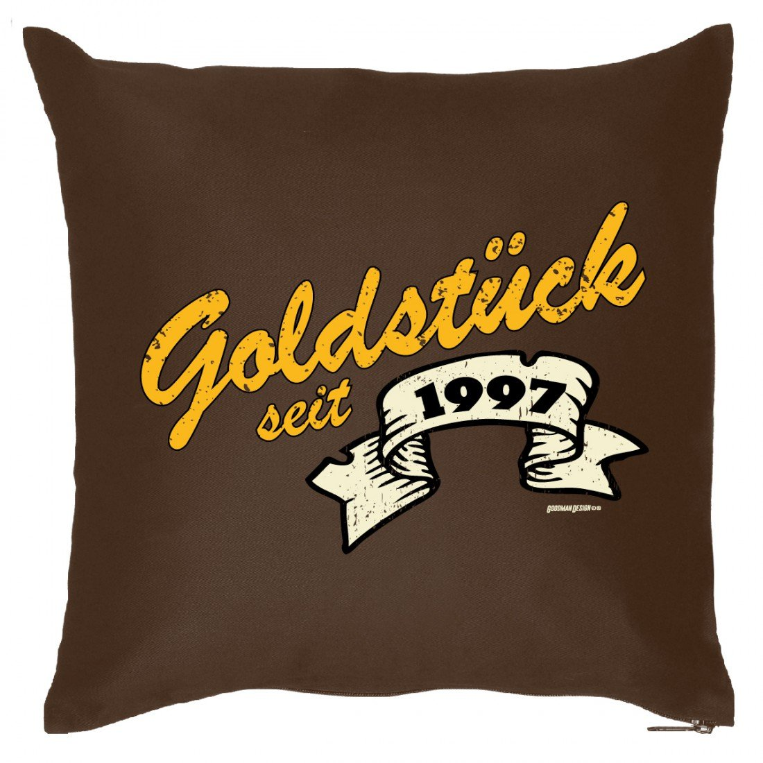Couch Kissen mit Jahrgang zum Geburtstag - Goldstück seit 1997 - Sofakissen Wendekissen mit Spruch und Humor