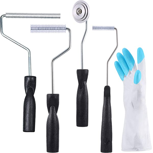 Fiberglass Roller Set with 1 Pair Gloves, Bubble Paddle Tool Fiberglass Laminating Roller Fiberglass Rollers for Mold Resin Composite Fiberglass Resin (5 Pieces, Style 2) (Color: Style 2, Tamaño: 5 Pieces)