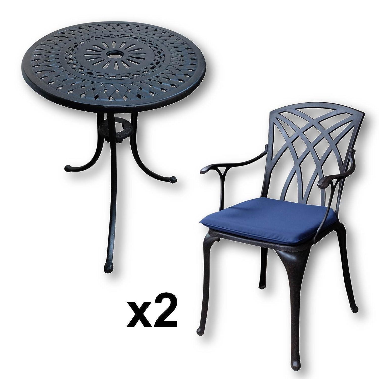 Lazy Susan – EVE 60 cm Bistrotisch mit 2 Stühlen – Rundes Gartenmöbel Set aus Metall, Antik Bronze (APRIL Stühle, Blaue Kissen) jetzt bestellen