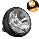 TUINCYN Amber Motorcycle Headlight Bulb Vintage Round Mounted Metal Motorbike Head Lamp Driving Running Beam Light Indicator Lamp DC 12V 35W 5 Inch(1-Pack)