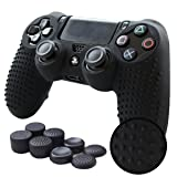 Pandaren STUDDED Anti-slip Silicone Cover Skin Grip Compatible for PS4 /SLIM /PRO controller(Black controller skin x 1 + FPS PRO Thumb Grips x 8) (Color: Black, Tamaño: PS4 Studded)