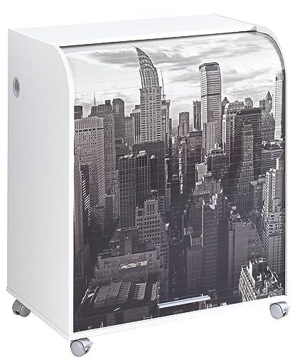 Simmob MUST095BL500 New York 500 mobile informatica a rotelle con-Tenda, motivo: legno, 53,2 x 79,2 x proprietà al 93,8 cm