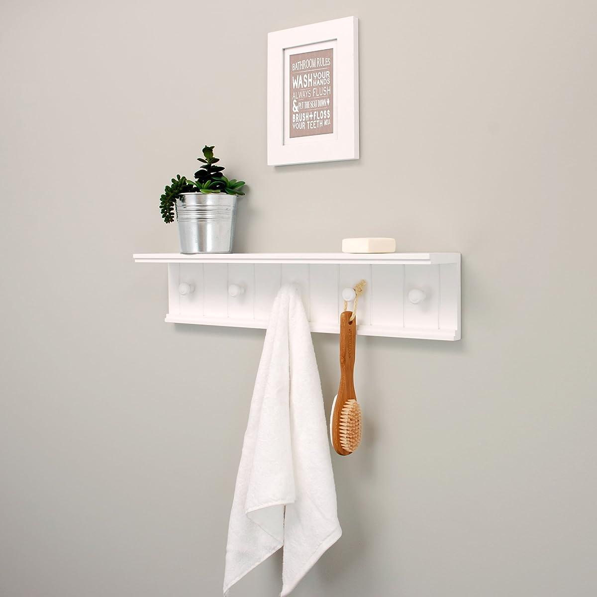 Kiera Grace Kian Wall Shelf with 5 Pegs, 24-Inch by 5-Inch, White