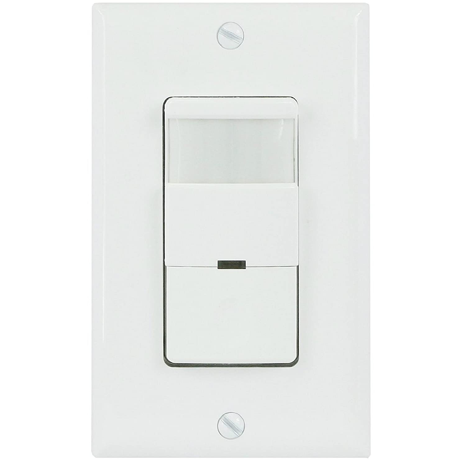 TOPGREENER TDOS5-W 2-in-1 PIR Occupancy/Vancancy Motion Sensor Switch, Single Pole, 180°, 500W **NEUTRAL WIRE REQUIRED**, White