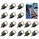 Recessed LED Deck Light Kits with Protecting Shell f32mm,SMY In Ground Outdoor LED Landscape Lighting IP67 Waterproof, 12V Low Voltage for Garden,Yard Steps,Stair,Patio,Floor,Kitchen Decoration (Color: Warm White, Tamaño: 16pcs/pack)