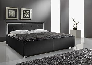 Dreams4Home Polsterbett mit Kunstlederbezug 'Melrose KT1', 140,160,180x200 cm, Schwarz, Liegefläche:180x200 cm