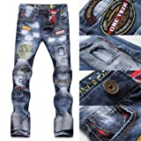 Fashion Mens Jeans Torn Jeans Patched Holey Washed Words Straight Leg Fitted LS (32)