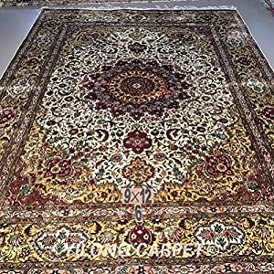 Yilong 9'x12' Oriental Rugs Handmade Antique Tabriz Floral Medallion and Thriving Flowers Pattern Hand Knotted Silk Carpet(9 Feet by 12 Feet, Ivory and Yellow) WY012