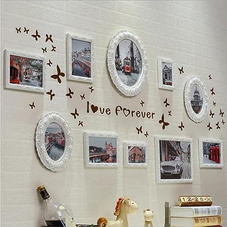 ZZZSYZXL Living Comedor Dormitorio de madera del marco de fotos sólido Creative Box 10 Imagen de pared Combinación
