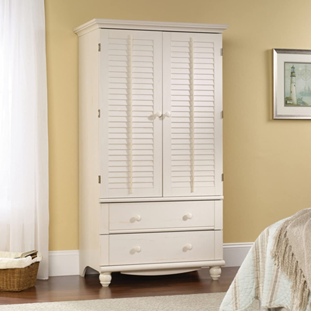 Sauder 158036 Antiqued White Finish Harbor View Armoire