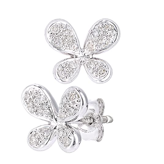 Naava 9ct White Gold Diamond Butterfly Design Earrings
