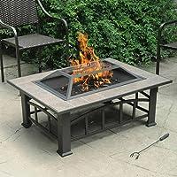 Axxonn Rectangular Tile Top Fire Pit (Brownish Bronz)