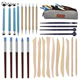 Augernis Polymer Clay Tools,28pcs Modeling Clay Sculpting Tools Set for Pottery Sculpture,Dotting Tools Ball Styluses for Rock Painting Cake Fondant Decoration (Tamaño: 28PCS)