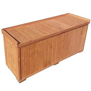Auflagenbox stabile Gartenbox mit Sitz, 122x41x56cm, Sitzbank für 3 Personen, Truhe Kiste  BaumarktÜberprüfung und Beschreibung