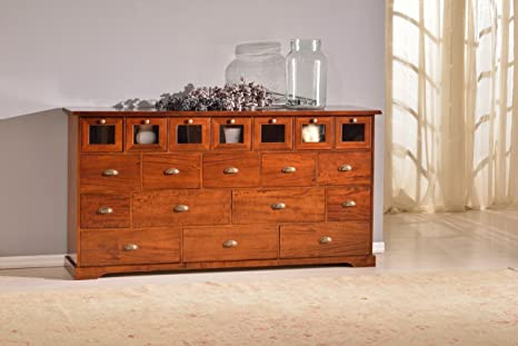 Credenza / Cassettiera in legno finitura noce arte povera, con 19 cassetti 180x90