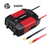 Excelvan 1000W Car Power Inverter 12V DC to 110V AC with Dual USB Port and 3 AC Outlet (Color: Red & Black)