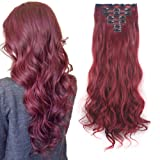 3-5 Days Delivery 7Pcs 16 Clips 24 inch Wavy Curly Full Head Clip in on Double Weft Hair Extensions (Color: Rose Red, Tamaño: synthetic hair-24 Inch-160g)
