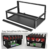 Kyerivs Mining Frame Rig Case, Open Air Miner Mining Frame Rig Case Up to 6 GPU for BTC LTC ETH Ethereum ETC ZCash Monero(Gpu Stand included)