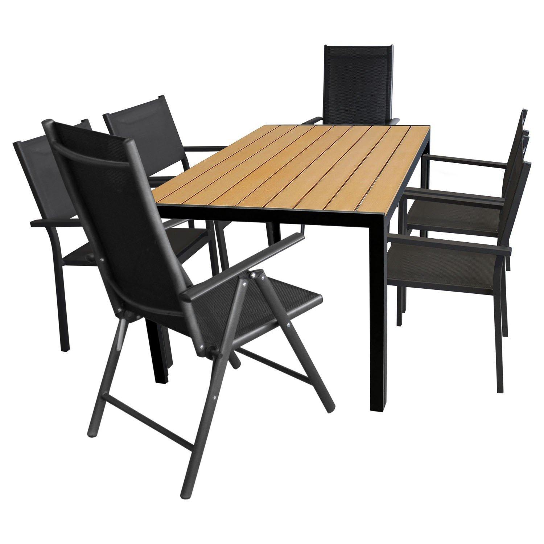 7tlg. Gartengarnitur – Gartentisch 150x90cm Polywood / Aluminium + 4x Stapelstuhl + 2x Hochlehner, klappbar, 7-fach verstellbar – Sitzgruppe Terrassenmöbel Sitzgarnitur Gartenmöbel Set günstig kaufen