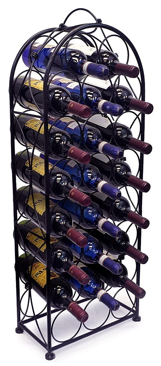 Sorbus Wine Rack Stand Bordeaux Chateau Style - Holds 23 Bottles of Your Favorite Wine - Elegant Looking French Style Wine Rack to Compliment Any Space - No Assembly Required (Black)