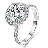 Jiangyue Lady Rings Halo Big Stone AAA Cubic ZirconiaRhodium Plated Party Solitaire Jewelry Mother 's Day Gift Size 6
