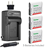Kastar 3x Battery + Charger for Casio NP-40 LB-060 & Casio Exilim EX-Z1000 EX-Z1050 EX-Z1080 EX-Z1200 EX-Z700 EX-Z750 EX-Z850 EX-FC100 FC150 FC160S Z400 PRO P505 P600 P700 ZOOM Z100 Z1000 XG-1 (Tamaño: 3 batteries + 1 charger)