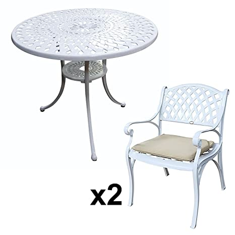 Lazy Susan Furniture - Mia 90 cm Round Table with 2 Chairs - Cast aluminium garden set, White (Kate chairs, Stone cushions)