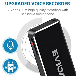 Mini Voice Recorder for Lectures,EVIDA 8GB Digital Sound Audio Recorder Mac Compatible Dictaphone 36 Hours Recording Device,USB,Rechargeable (Black) (Color: Black, Tamaño: Medium)