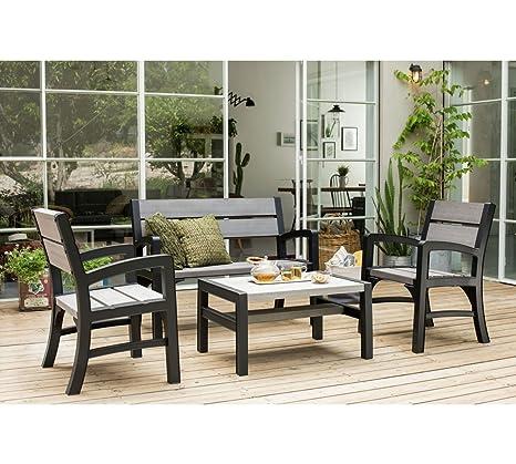 Koll Living Lounge Set / Möbelset / Sitzgruppe in rustikaler Holzoptik - Modell 2017 - UV - und witterungsbeständig