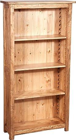 Pequeño Estantería Country de madera maciza de tilo acabado natural 68x 25x 130cm