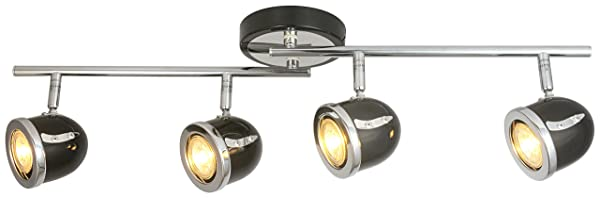 LED Retro Adjustable Eyeball Black &Chrome Ceiling Spotlight (Black &Chrome, 4 Lights) (Color: Black &Chrome, Tamaño: 4 Lights)