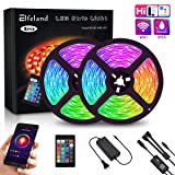 Elfeland LED Strip Lights, WiFi 32.8FT 10M 300 LEDs SMD 5050 Color Changing Kit Work with Alexa Google Assistant Strip Lights Wireless Phone APP Controlled Rope Light Waterproof Flexible Tape Lights (Color: Rgbw, Tamaño: 32.8ft)