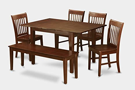 East West Furniture PSNO6C-MAH-C 6-Piece Dining Table Set