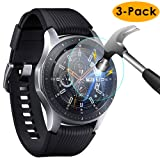 KIMILAR [3-Pack] Compatible Samsung Galaxy Watch Screen Protector 46mm, Waterproof Tempered Glass Screen Protector Cover Compatible Samsung Galaxy Smartwatch Silver, [Crystal Clear] [Scratch Resist] (Tamaño: 46MM)
