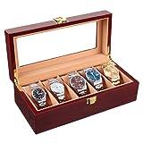 Homfa Wooden Watch Box 5 Slots Watch Display Storage Organizer Case Glass Top with Metal Lock, Cherry    (Color: Cherry)