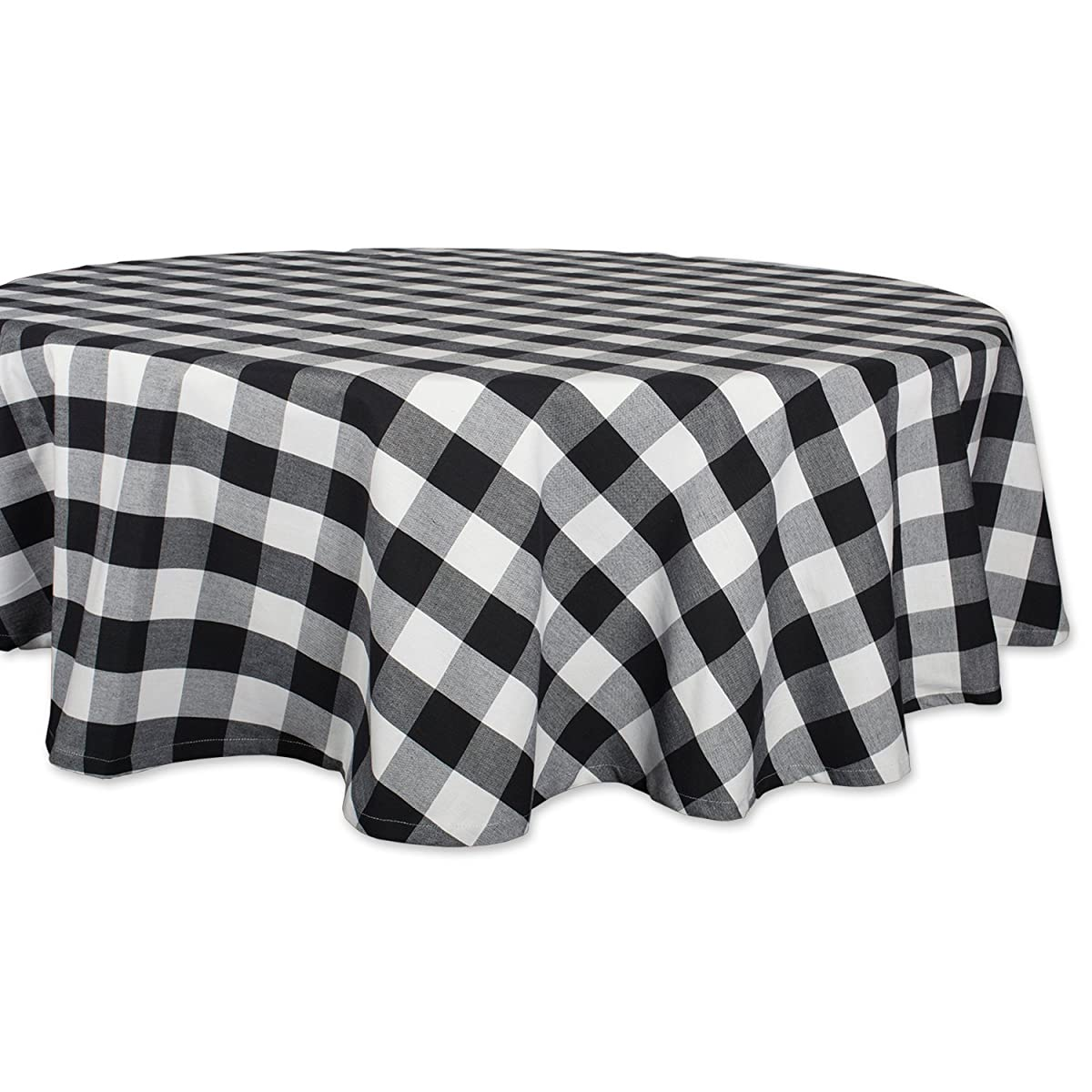 "DII Cotton Buffalo Check Plaid Round Tablecloth for Family Dinners or Gatherings, Indoor or Outdoor Parties, & Everyday Use (70x70"",Seats 4-6 People), Black & White"