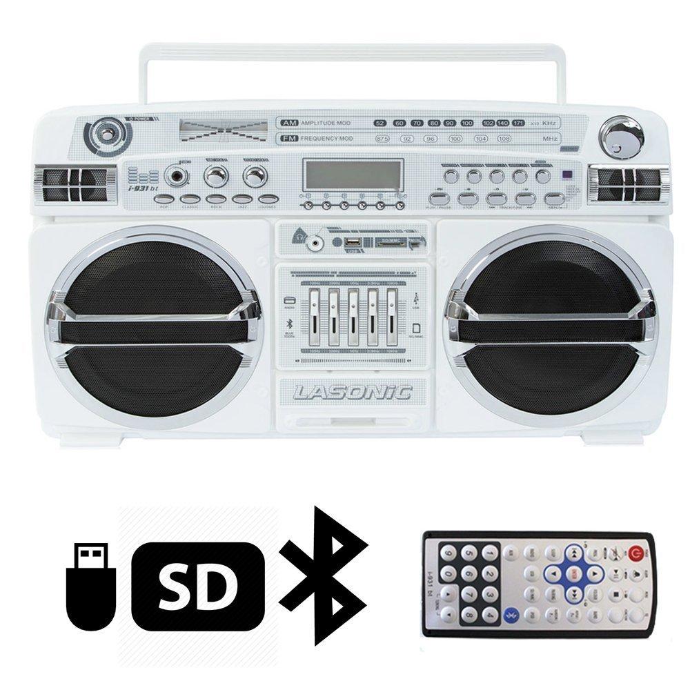Lasonic i-931BT Portable AM/FM Radio Bluetooth Ghetto Blaster Boombox Speakers (i-931BT, White / Chrome) 0
