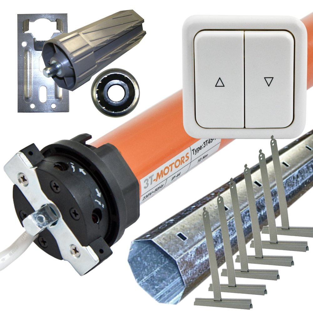 Rolladenmotor 3TMOTORS Komplettset SW60 + Wippschalter + Rolladenwelle + Zubehör 3T4520 SW60 bis 2,50m  BaumarktKundenbewertung und Beschreibung