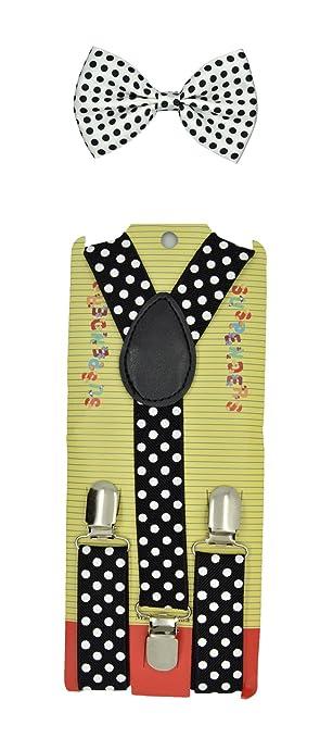 """Kids Children Babies """"W/Black"""" Polkadot Suspender & Bow tie Set"""