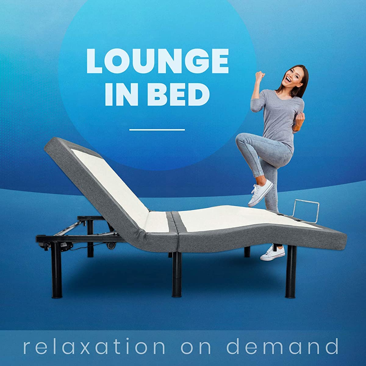 BEDBOSS Maximize 604 Adjustable Full Motion Zero Gravity Motorized Bed Base | Heavy Duty Steel Frame | Healthy Lifestyle Massage | Wireless Remote | Mattress Retention Rail | for Bedroom | Queen