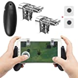 EAONE Mobile Game Controller, 2 Sensitive Shoot Aim Triggers Fire Buttons Portable Gamepad with 2 Pcs Sucker Joysticks for Rules of Survival,Knives Out Fits iOS Android 4.7-6.44 Inch Phone