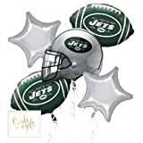 Andaz Press Balloon Bouquet Party Kit with Gold Cards & Gifts Sign, Jets Football Themed Foil Mylar Balloon Decorations, 1-Set (Color: Sports Jets)