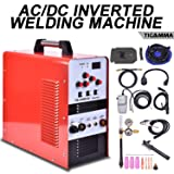 YiiYYaa 110/220V Dual Voltage TIG200ACDC 200A AC/DC Aluminum Tig Welder with DC Stick/Arc Welder, Square Wave Inverter with Foot Pedal and Argon Regulator