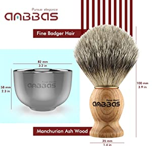 Shaving Set, 3in1 Pure Badger Hair Shaving Brush Natural