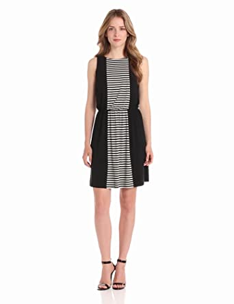 Ivy & Blu Women's Sleeveless Stripe Dress, Black/Coco, 2
